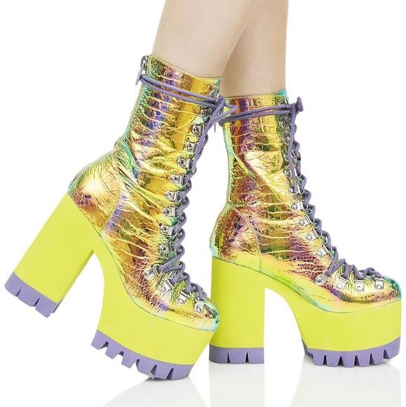 Cosmic Matter Iridescent Platform Boots